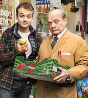 Still Open All Hours. Image shows from L to R: Leroy (James Baxter), Granville (David Jason). Image credit: British Broadcasting Corporation.