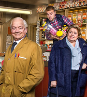 Still Open All Hours. Image shows from L to R: Granville (David Jason), Leroy (James Baxter), Nurse Gladys Emmanuel (Lynda Baron). Image credit: British Broadcasting Corporation.