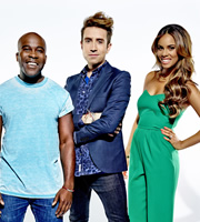 Sweat The Small Stuff. Image shows from L to R: Melvin Odoom, Nick Grimshaw, Rochelle Humes. Image credit: Talkback.