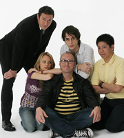Teenage Kicks. Image shows from L to R: Bryan (Mark Arden), Milly (Laura Aikman), Vernon (Adrian Edmondson), Max (Ed Coleman), David (Jonathan Chan-Pensley). Image credit: Phil McIntyre Entertainment.