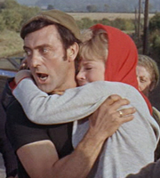 The Bargee. Image shows from L to R: Hemel Pike (Harry H. Corbett), Christine Turnbull (Julia Foster). Image credit: Associated British Picture Corporation.