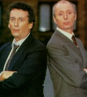 The Detectives. Image shows from L to R: Dave Briggs (Robert Powell), Bob Louis (Jasper Carrott). Image credit: Celador Productions.