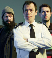 The Function Room. Image shows from L to R: PC Bracket (Reece Shearsmith), Inspector Tony Marks (Kevin Eldon), Steve Lawson (Blake Harrison). Image credit: Zeppotron.