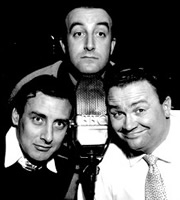 The Goon Show. Image shows from L to R: Count Jim Moriarty (Spike Milligan), Hercules Grytpype-Thynne (Peter Sellers), Neddie Seagoon (Harry Secombe). Image credit: British Broadcasting Corporation.