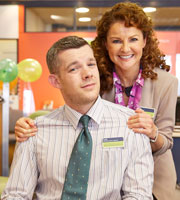 The Job Lot. Image shows from L to R: Karl (Russell Tovey), Trish (Sarah Hadland). Image credit: Big Talk Productions.