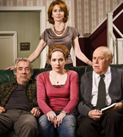 The Old Guys. Image shows from L to R: Tom (Roger Lloyd-Pack), Sally (Jane Asher), Amber (Katherine Parkinson), Roy (Clive Swift). Image credit: British Broadcasting Corporation.