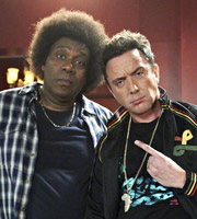 The One.... Image shows from L to R: Lenny Henry, Peter Serafinowicz. Image credit: British Broadcasting Corporation.