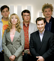 The Persuasionists. Image shows from L to R: Billy Hitchens (Iain Lee), Emma (Daisy Haggard), Clive Johnson (Jarred Christmas), Greg Bannister (Adam Buxton), Keaton (Simon Farnaby). Copyright: Bwark Productions.