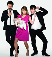 Threesome. Image shows from L to R: Richie (Emun Elliott), Alice (Amy Huberman), Mitch (Stephen Wight). Image credit: Big Talk Productions.