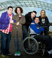 Two Pints Of Lager And A Packet Of Crisps. Image shows from L to R: Tim (Luke Gell), Donna (Natalie Casey), Billy (Freddie Hogan), Gaz (Will Mellor), Cassie (Georgia Henshaw). Image credit: British Broadcasting Corporation.