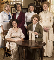 Up The Women. Image shows from L to R: Emily (Georgia Groome), Eva (Emma Pierson), Helen (Rebecca Front), Margaret (Jessica Hynes), Gwen (Vicki Pepperdine), Myrtle (Judy Parfitt). Image credit: British Broadcasting Corporation.