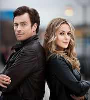 Vexed. Image shows from L to R: D.I. Jack Armstrong (Toby Stephens), D.I. Georgina Dixon (Miranda Raison). Image credit: Greenlit Rights.