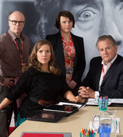 W1A. Image shows from L to R: Simon Harwood (Jason Watkins), Siobhan Sharpe (Jessica Hynes), Tracey Pritchard (Monica Dolan), Ian Fletcher (Hugh Bonneville). Image credit: British Broadcasting Corporation.