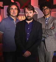 Was It Something I Said?. Image shows from L to R: Micky Flanagan, David Mitchell, Richard Ayoade. Image credit: Maverick Television.