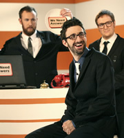 We Need Answers. Image shows from L to R: Alex Horne, Mark Watson, Tim Key. Image credit: British Broadcasting Corporation.