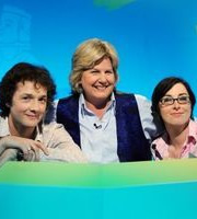 What The Dickens?. Image shows from L to R: Chris Addison, Sandi Toksvig, Sue Perkins. Image credit: Liberty Bell.