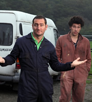 White Van Man. Image shows from L to R: Ollie (Will Mellor), Darren (Joel Fry). Copyright: ITV Studios.