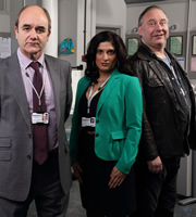 The Wright Way. Image shows from L to R: Gerald Wright (David Haig), Malika Maha (Mina Anwar), Bernard Stanning (Toby Longworth). Image credit: Phil McIntyre Entertainment.