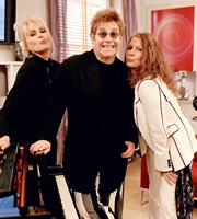 Absolutely Fabulous. Image shows from L to R: Patsy (Joanna Lumley), Elton John, Edina (Jennifer Saunders). Copyright: Saunders And French Productions / BBC.