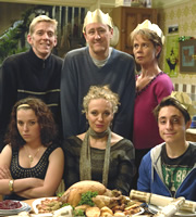 After You've Gone. Image shows from L to R: Kev (Lee Oakes), Molly Venables (Dani Harmer), Jimmy Venables (Nicholas Lyndhurst), Siobhan Casey (Amanda Abbington), Diana Neal (Celia Imrie), Alex Venables (Ryan Sampson). Copyright: BBC / Rude Boy Productions.