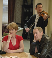 After You've Gone. Image shows from L to R: Diana Neal (Celia Imrie), Jimmy Venables (Nicholas Lyndhurst), Violinist (David Williams). Copyright: BBC / Rude Boy Productions.
