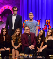 Alan Carr: Chatty Man. Image shows from L to R: Jesy Nelson, Richard Osman, Jade Thirlwall, Alan Carr, Russell Howard, Leigh-Anne Pinnock, Perrie Edwards. Copyright: Open Mike Productions.