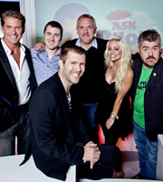 Ask Rhod Gilbert. Image shows from L to R: David Hasselhoff, Lloyd Langford, Rhod Gilbert, Greg Davies, Kimberly Wyatt, Phill Jupitus. Copyright: Green Inc Film And Television.