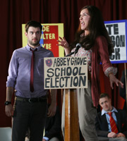 Bad Education. Image shows from L to R: Alfie (Jack Whitehall), Miss Gulliver (Sarah Solemani), Grayson (Jack Bence). Copyright: Tiger Aspect Productions.
