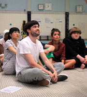 Bad Education. Image shows from L to R: Jing (Kae Alexander), Alfie (Jack Whitehall), Chantelle (Nikki Runeckles), Joe (Ethan Lawrence). Copyright: Tiger Aspect Productions.