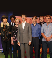 The Big Fat Quiz Of The Year. Image shows from L to R: Noel Fielding, Richard Ayoade, Sarah Millican, Jimmy Carr, David Mitchell, Kevin Bridges, Alan Carr. Copyright: Hot Sauce / Channel 4 Television Corporation.