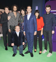 The Big Fat Quiz Of The Year. Image shows from L to R: Jonathan Ross, Russell Brand, Warwick Davis, Noel Fielding, Jimmy Carr, Claudia Winkleman, Jack Whitehall. Copyright: Hot Sauce / Channel 4 Television Corporation.
