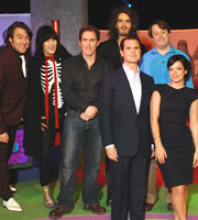 The Big Fat Quiz Of The Year. Image shows from L to R: Jonathan Ross, Noel Fielding, Rob Brydon, Russell Brand, Jimmy Carr, David Mitchell, Lily Allen. Copyright: Hot Sauce / Channel 4 Television Corporation.