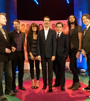 The Big Fat Quiz Of The Year. Image shows from L to R: Charlie Brooker, David Mitchell, Claudia Winkleman, Jimmy Carr, Rob Brydon, Russell Brand, Jonathan Ross. Copyright: Hot Sauce / Channel 4 Television Corporation.