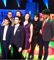 The Big Fat Quiz Of The Year. Image shows from L to R: Michael McIntyre, Alan Carr, Jonathan Ross, Jimmy Carr, Ruth Jones, Noel Fielding, Richard Ayoade. Image credit: Hot Sauce.