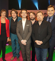 The Big Fat Quiz Of The Year. Image shows from L to R: Miranda Hart, Jonathan Ross, Jimmy Carr, David Mitchell, Eddie Izzard, David Walliams. Image credit: Hot Sauce.