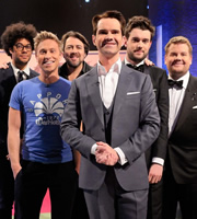 The Big Fat Quiz Of The Year. Image shows from L to R: Richard Ayoade, Russell Howard, Jonathan Ross, Jimmy Carr, Jack Whitehall, James Corden. Copyright: Hot Sauce / Channel 4 Television Corporation.