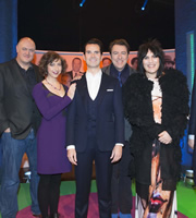 The Big Fat Quiz Of The Year. Image shows from L to R: Dara O Briain, Kristen Schaal, Jimmy Carr, Jonathan Ross, Noel Fielding. Copyright: Hot Sauce / Channel 4 Television Corporation.