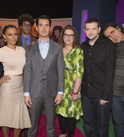 The Big Fat Quiz Of The Year. Image shows from L to R: Mel B, Richard Ayoade, Jimmy Carr, Sarah Millican, Kevin Bridges, Micky Flanagan. Image credit: Hot Sauce.