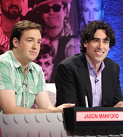 The Big Fat Quiz Of The Year. Image shows from L to R: Jason Manford, Stephen Mangan. Copyright: Hot Sauce / Channel 4 Television Corporation.