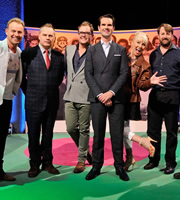 The Big Fat Quiz Of The Year. Image shows from L to R: Jason Donovan, Jack Dee, Alan Carr, Jimmy Carr, Sarah Greene, David Mitchell. Copyright: Hot Sauce / Channel 4 Television Corporation.