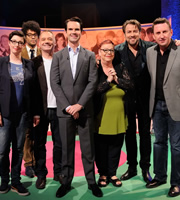 The Big Fat Quiz Of The Year. Image shows from L to R: Sue Perkins, Richard Ayoade, Bob Mortimer, Jimmy Carr, Jo Brand, Jonathan Ross, Lee Mack. Copyright: Hot Sauce / Channel 4 Television Corporation.