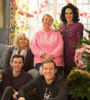 Birds Of A Feather. Image shows from L to R: Tracey Stubbs (Linda Robson), Travis Stubbs (Charlie Quirke), Sharon Theodopolopodous (Pauline Quirke), Garth Stubbs (Samuel James), Dorien Green (Lesley Joseph). Image credit: Alomo Productions.