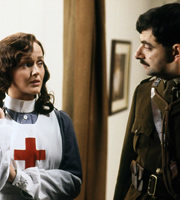 Blackadder. Image shows from L to R: Nurse Mary (Miranda Richardson), Captain Edmund Blackadder (Rowan Atkinson). Copyright: BBC / Tiger Aspect Productions.