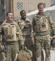 Bluestone 42. Image shows from L to R: Mac (Jamie Quinn), Millsy (Gary Carr), Nick (Oliver Chris). Copyright: BBC.