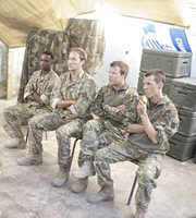 Bluestone 42. Image shows from L to R: Millsy (Gary Carr), Nick (Oliver Chris), Simon (Stephen Wight), Rocket (Scott Hoatson). Copyright: BBC.