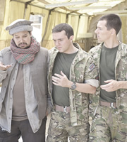 Bluestone 42. Image shows from L to R: Faruq (Keeno Lee Hector), Mac (Jamie Quinn), Rocket (Scott Hoatson). Copyright: BBC.
