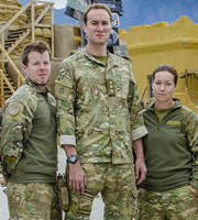 Bluestone 42. Image shows from L to R: Simon (Stephen Wight), Nick (Oliver Chris), Bird (Katie Lyons). Copyright: BBC.