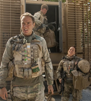 Bluestone 42. Image shows from L to R: Nick (Oliver Chris), Simon (Stephen Wight), Bird (Katie Lyons). Copyright: BBC.