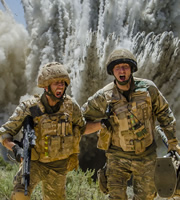 Bluestone 42. Image shows from L to R: Towerblock (Matthew Lewis), Nick (Oliver Chris). Copyright: BBC.