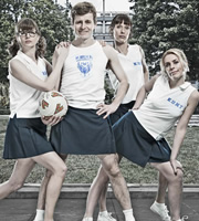 Campus. Image shows from L to R: Imogen Moffat (Lisa Jackson), Jason Armitage (Will Adamsdale), Lydia Tennant (Dolly Wells), Nicole Huggins (Sara Pascoe). Copyright: Monicker Pictures.